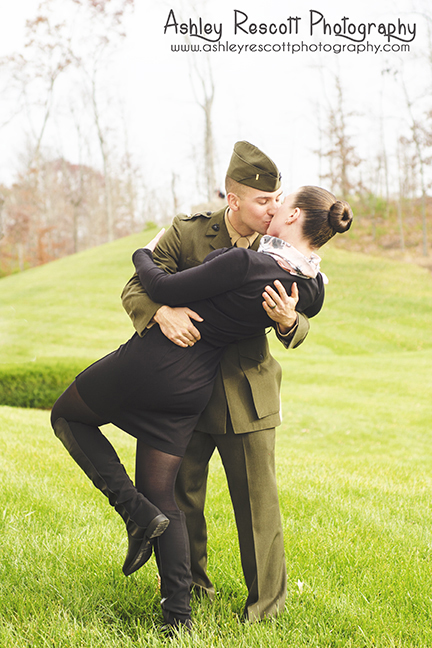 us marine dipping and kissing wife, quantico couples photographer