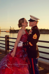 us marine and wife in gown waterfront, quantico photographer
