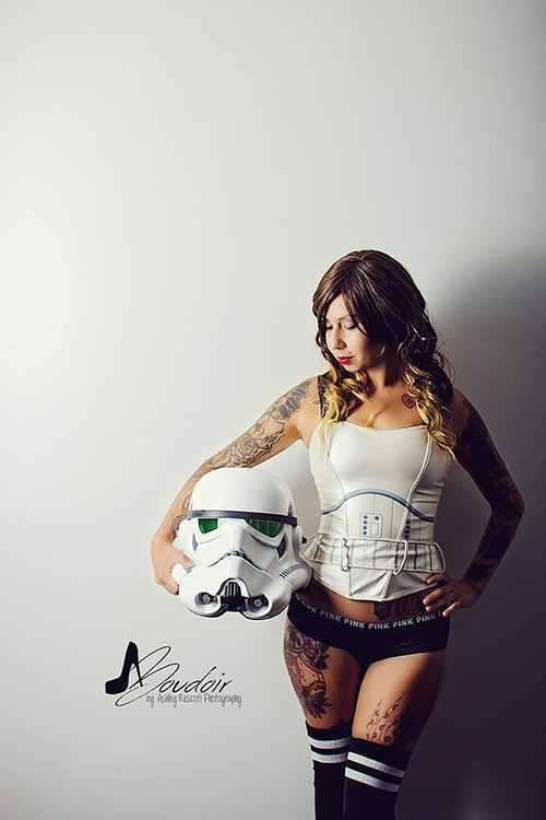 sexy stormtrooper with helmet off, star wars boudoir