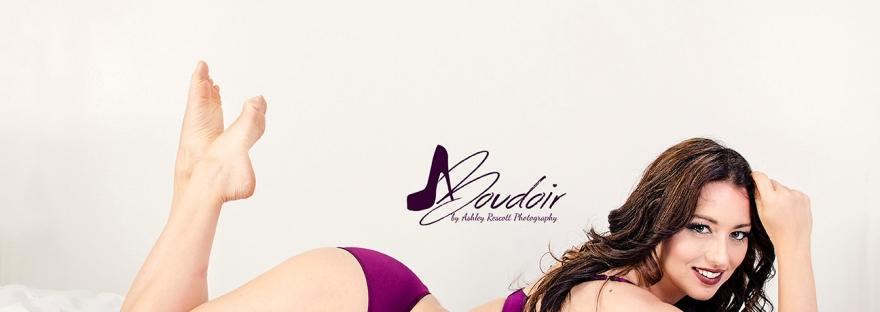 woman in purple underwear on bed