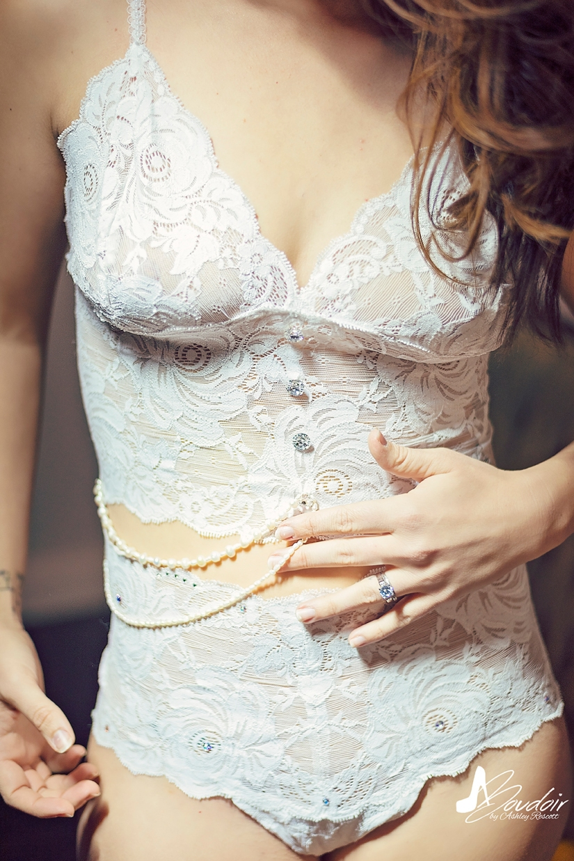 white lace lingerie with pearl details