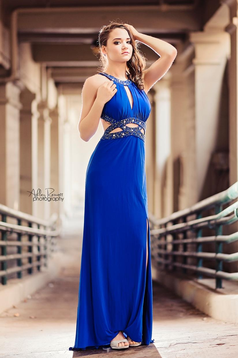high school senior girl in blue prom dress