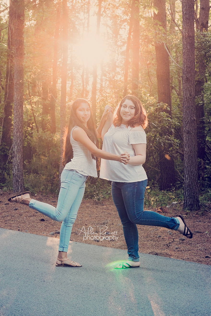 silly sisters in woods