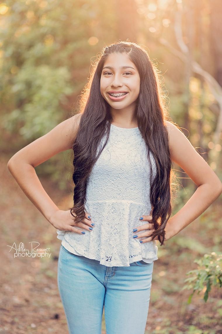 teen girl in woods
