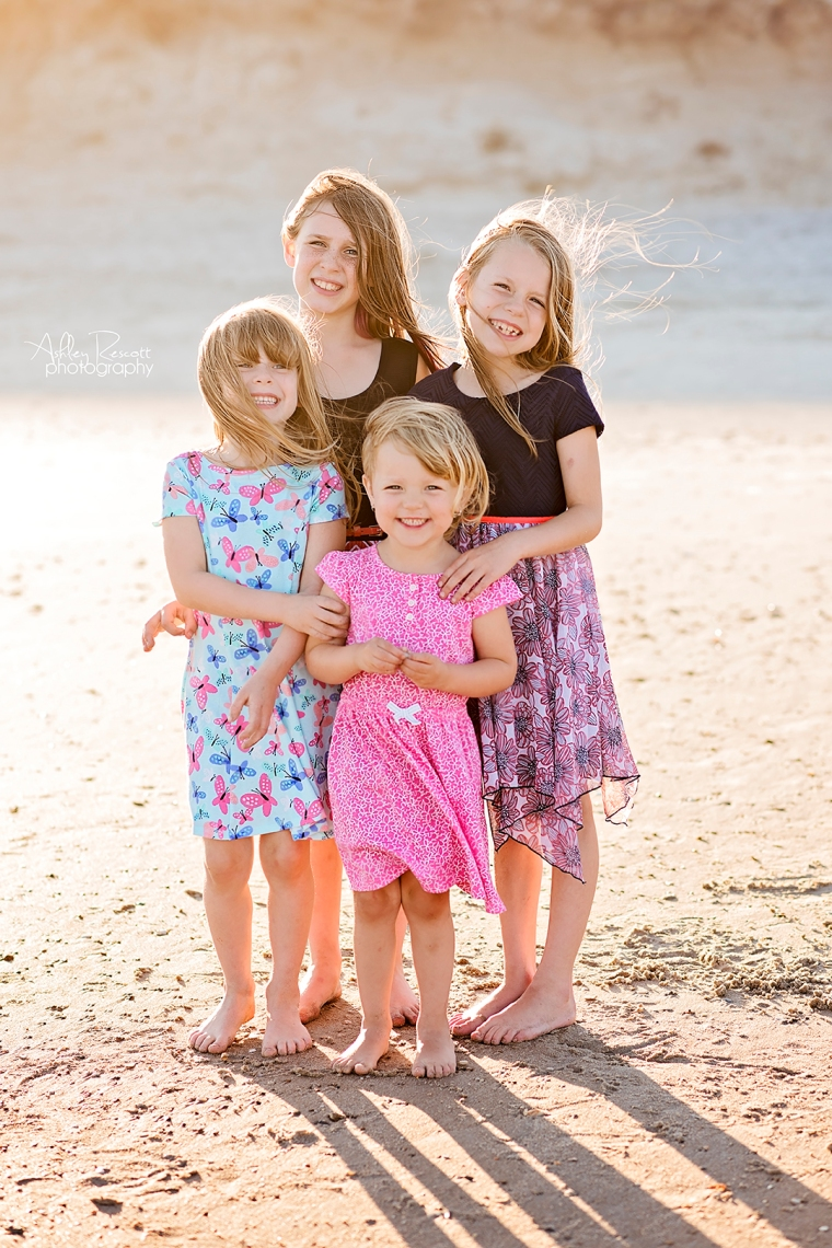 four sisters on beach