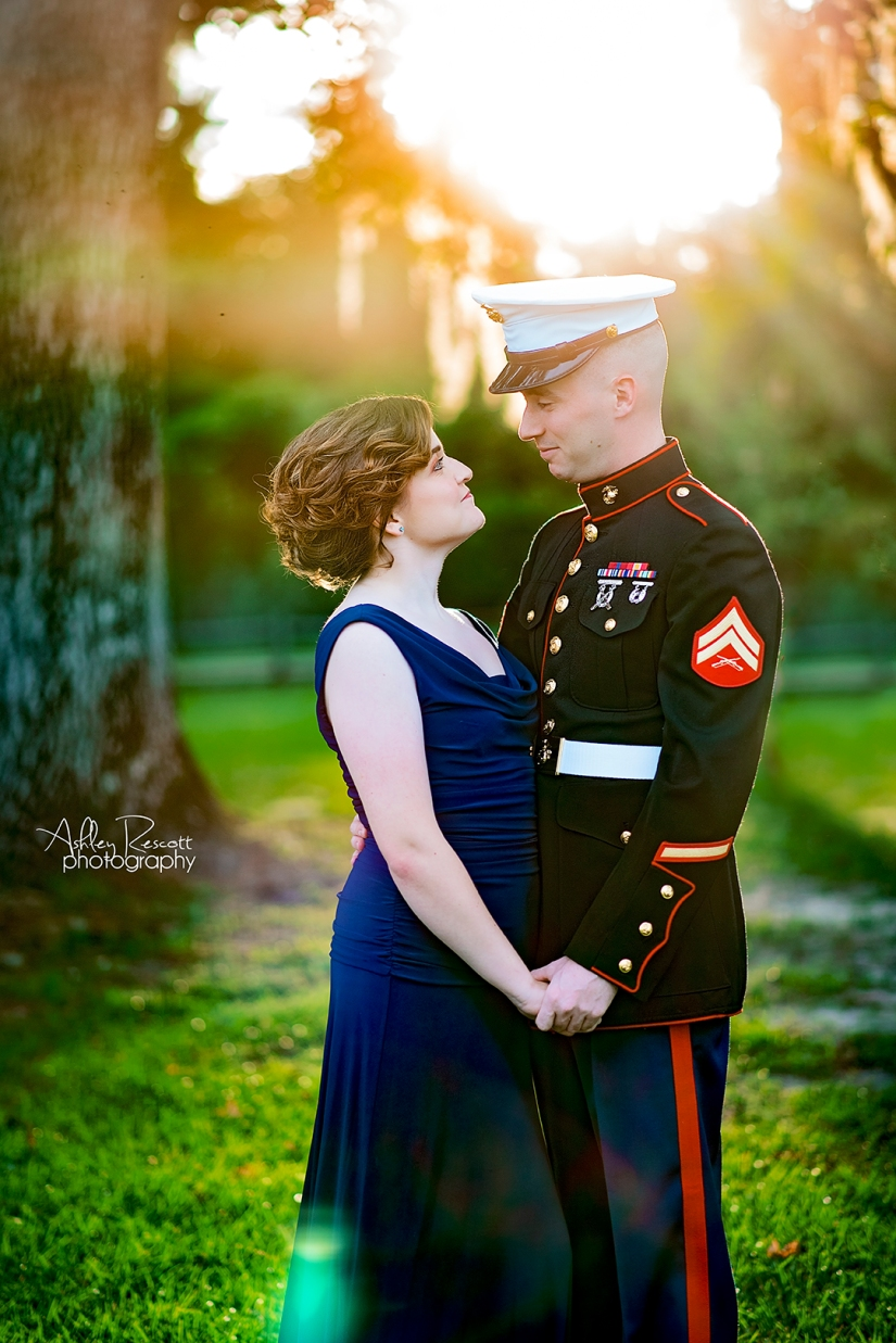 marine and his wife and sunflare