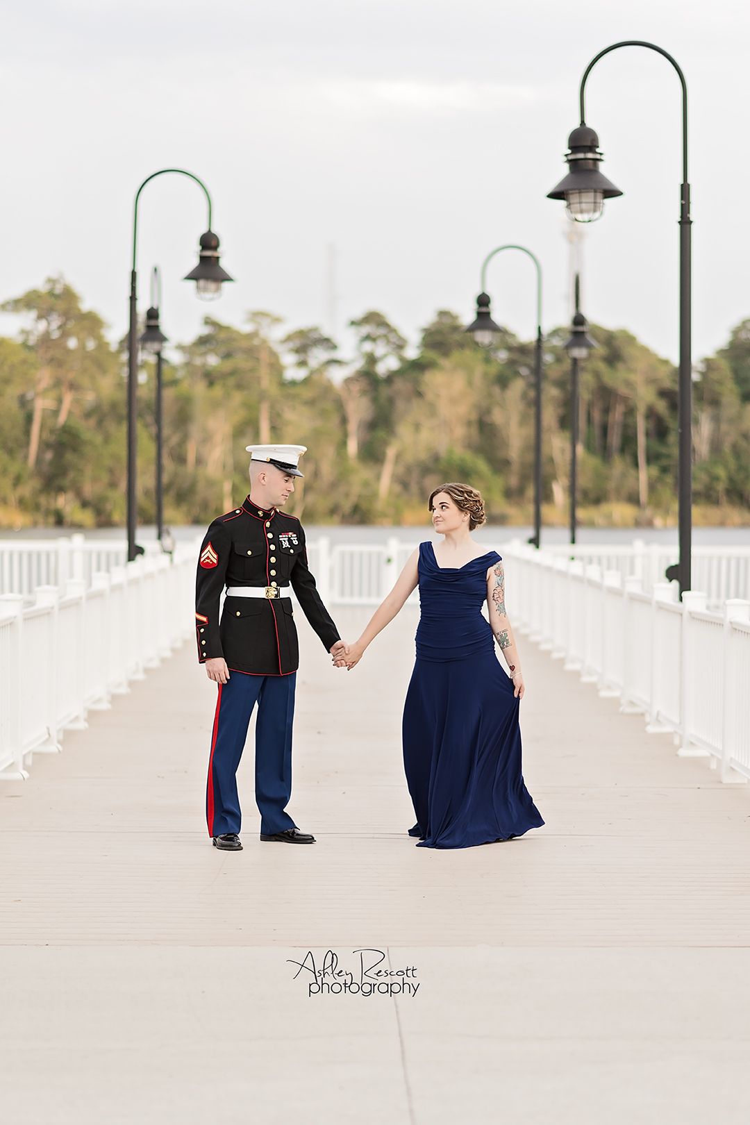military couple dressed for ball