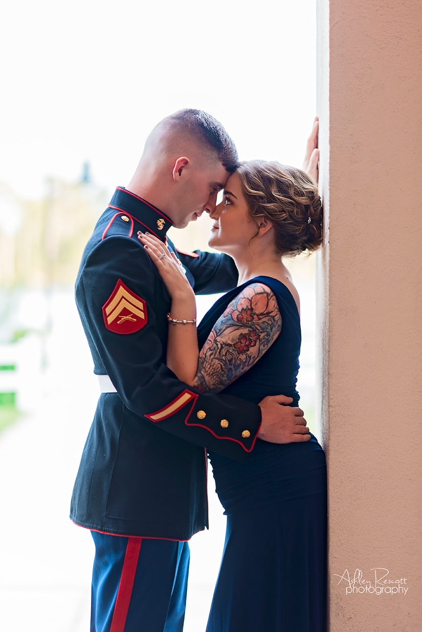 intimate moment between marine and his wife