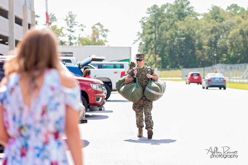 marine walking toward his wife