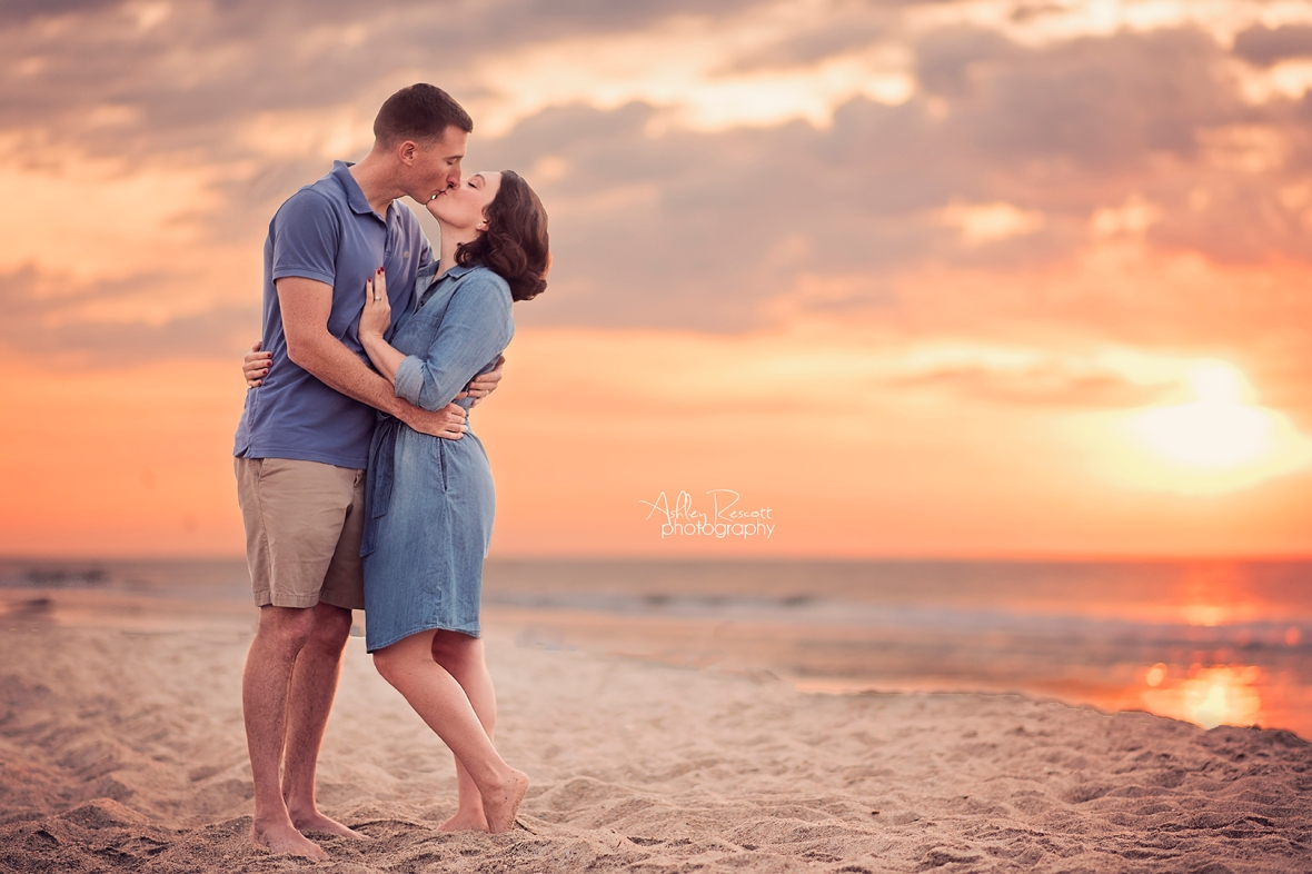 Couple portrait on the beach at sunrise