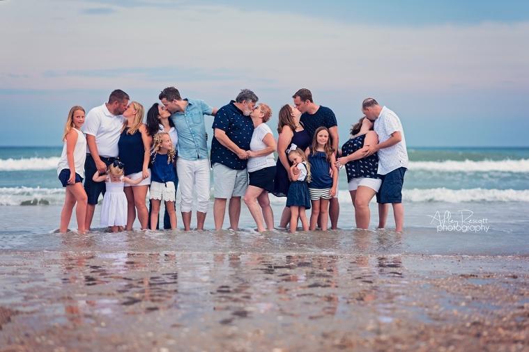 big family at beach