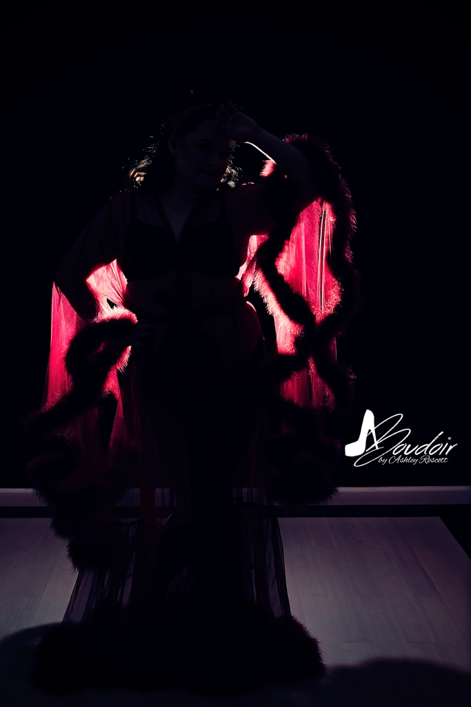 silhouette of woman in red sheer robe