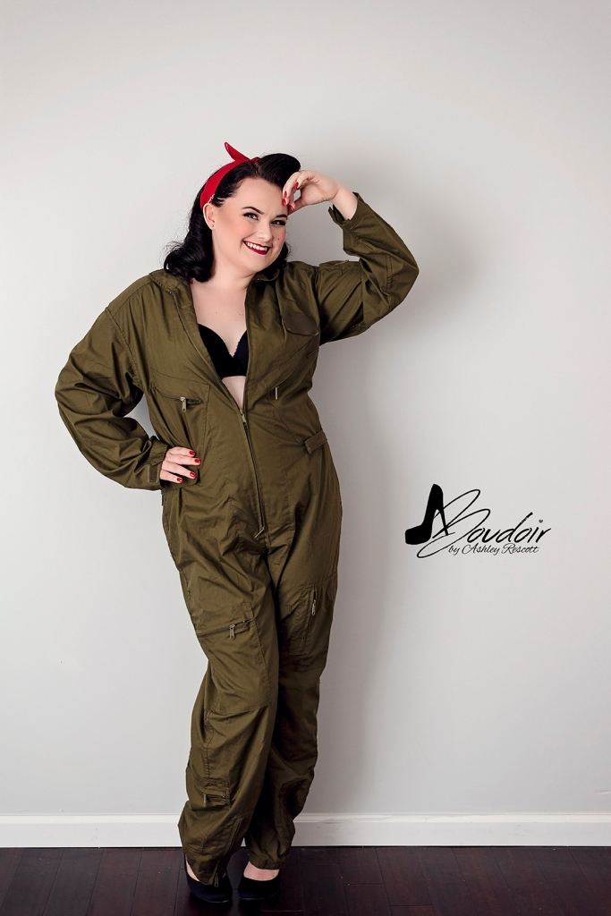 pin up in flight suit, saluting, full length