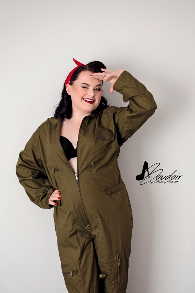 pin up in flight suit, saluting