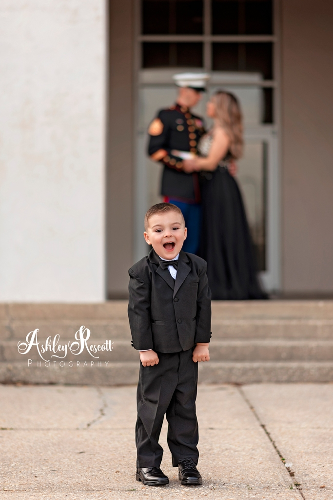 little boy dressed in a tux