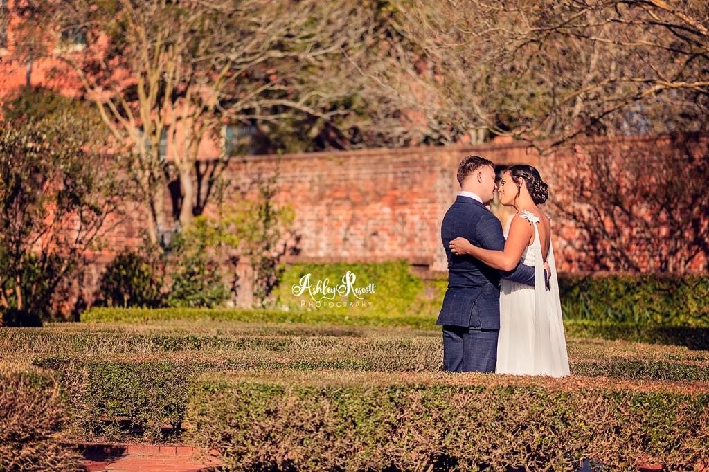 bridal couple in the garden