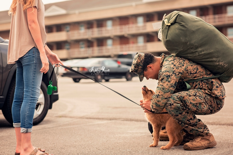 puppy looking up at marine just home from deployment