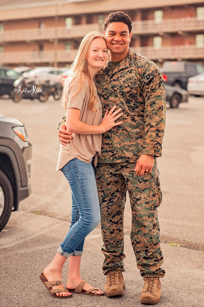 marine and his wife together again