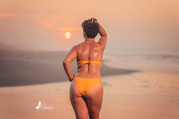 woman from behind on beach