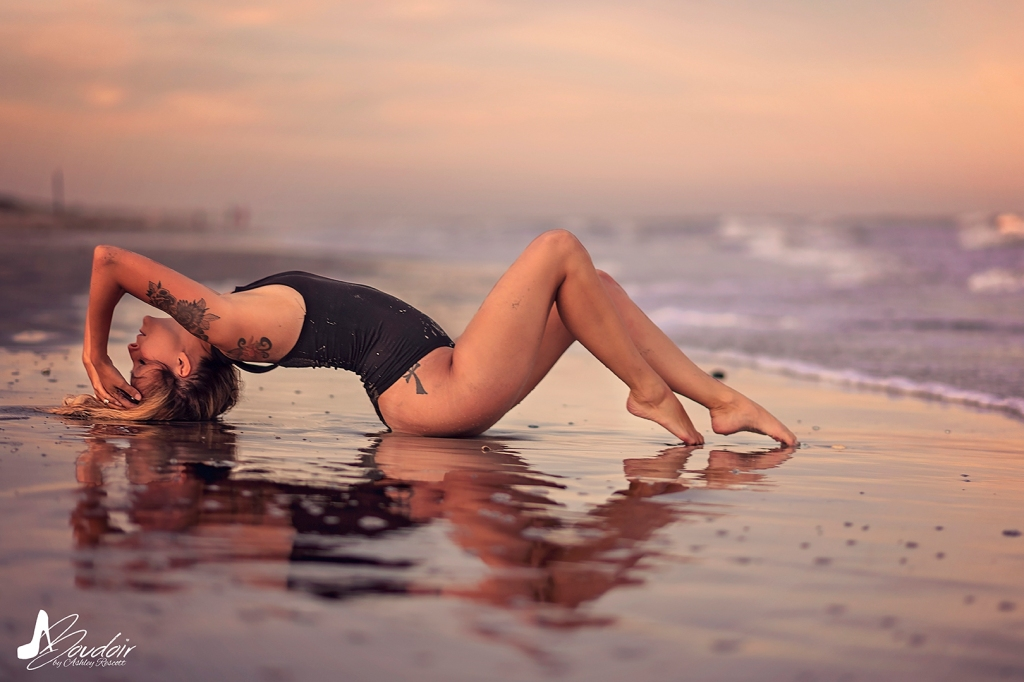 woman arching on beach