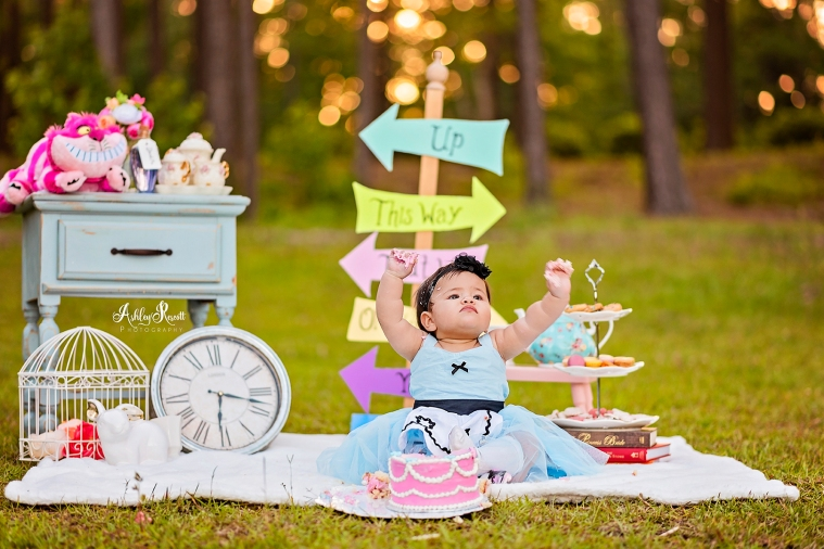 toddler girl cake smash, alice in wonderland themed